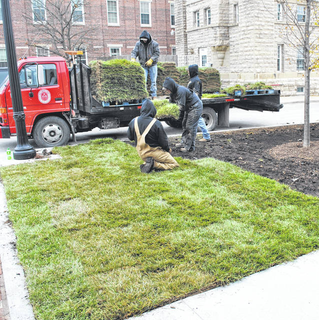 "City of Hillsboro employees are shown Thursday afternoon laying sod in the ""green space"" plaza along Governor Trimble Place."