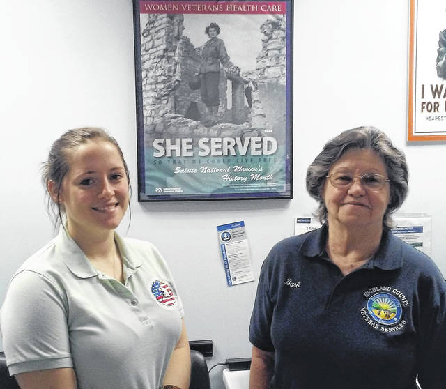 Incoming Veterans Service Officer Cailin Hoskins, left, is pictured with Barb Suttle, who retired this week from the same position at the Highland County Veterans Service Commission.
