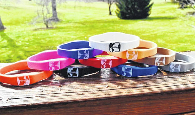 The two-piece KOPA bracelets are interchangeable and come in all the colors shown in this photograph.