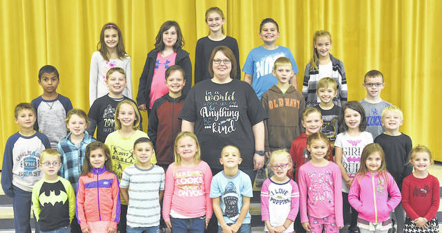 These children were chosen as Students of the Month at Lynchburg-Clay Elementary for November. The students were chosen by their teacher for displaying positive behavior, being responsible and respectful, doing good deeds as well as their school work, and for being a positive role model for others. Pictured are (front row, l-r) Levi Hurley (PreK), Riley McPherson (1), Damon McPherson (1), Claire Roberts (K), John Michael (1), Maci Berger (K), Arianna Wilson (1), Rowan Vance (K), and Emily Shreve (K); (second row, l-r) Hunter Hixon (2), Kendra (2), Kylee Chaney (4), Principal Mrs. Godby, Abe Turner (2), Riley Patrick (2) and Lucas Vandemark (1); (third row, l-r) Cylus Arrington (3), Dustin Hilliard (5), Carer Ernst (3), Evan Zaremba (4), John Schrimper (4) and Logan West (2); (fourth row, l-r) Breanna Rosselott (3), Maddie Brault (5), Caylee Ferguson (5), Caden Boone (5) and Allyson Jones (4). Not Pictured: Chance Wright (PreK) and Levi Wills (3).
