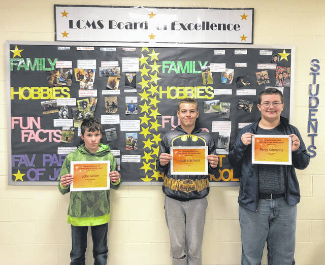 The Lynchburg-Clay Middle School November Students of the Month are sixth-grader John Miller, seventh-grader Nidal Hatfield and eighth-grader Perry Simmons.