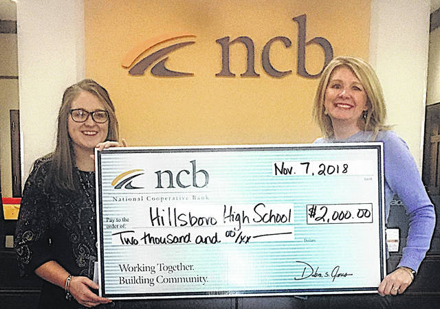 Pictured are Rachel Bohrer, left, Hillsboro High School teacher, and Heather Cummings, NCB marketing manager.