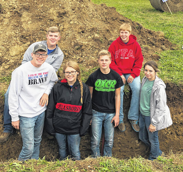 Hillsboro FFA soil judging team members are pictured (front row, l-r) Scottie Eastes, Kelcie Thornburgh, Bryce Stanley and Gracie Issacs; (back row) Brennen Priest, left, and Lana Grover.