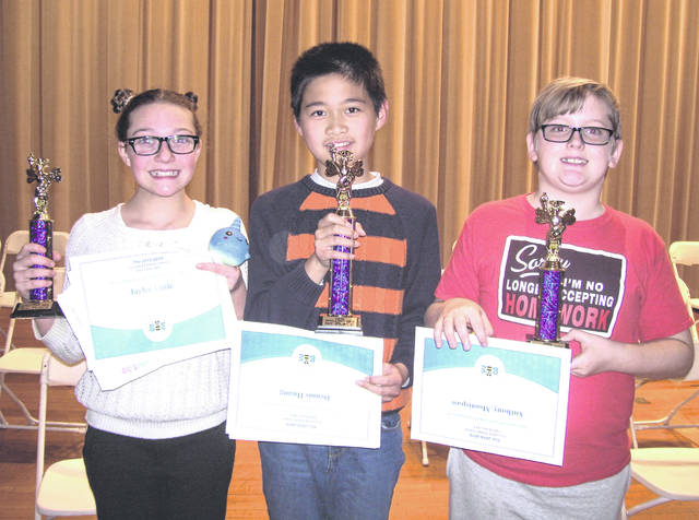 The 2018-19 Greenfield Middle School Spelling Bee was held on the morning of Monday, Nov. 19 in the McClain High School auditorium. The bee champion was sixth grader Dennis Huang. The second place finisher was seventh grader Jaylee Little and third place was awarded to seventh grader Anthony Mootispaw.
