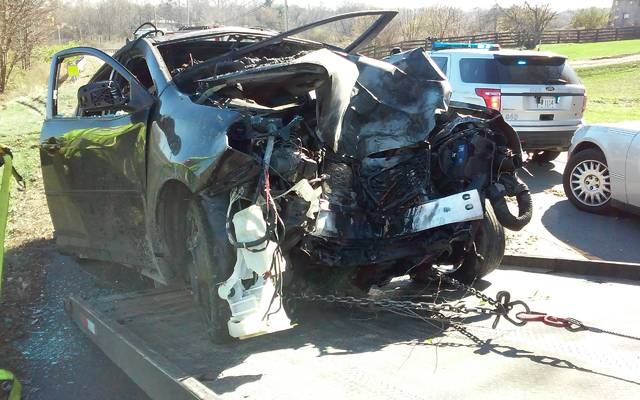 Shown is a 2009 Pontiac hatchback that was involved in a fatal accident Saturday morning.