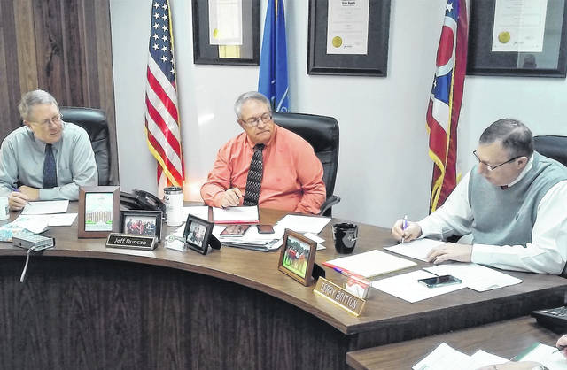 Highland County commissioners, from left, Gary Abernathy, Jeff Duncan and Terry Britton are shown at Wednesday's regular scheduled meeting.
