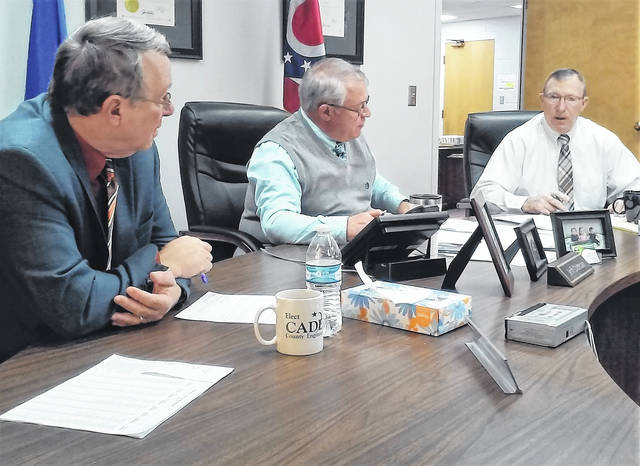At their final meeting of 2018, Highland County Commissioners Gary Abernathy, Jeff Duncan and Terry Britton are pictured finalizing the county operating budget for next year.