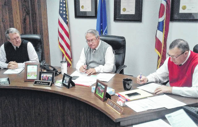 From left, Highland County commissioners Gary Abernathy, Jeff Duncan and Terry Britton are shown during a commissioners meeting Wednesday.