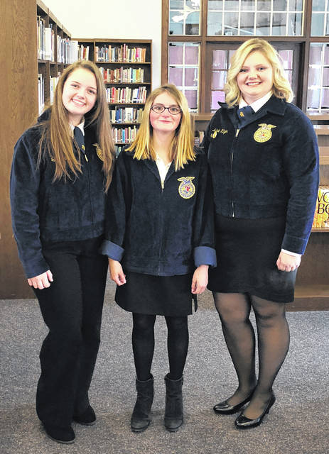The Hillsboro FFA recently had three members participate in the sub-district job interview contest at Greenfield. Jaiden Hughes was able to move on to the district event where she placed placed fifth. The Hillsboro FFA Chapter hosted the district job interview contest. There were a total of 20 schools that participated. The job interview contest is a great tool to prepare kids for the future and help them understand the process required to get a job. This contest consisted of filling out a job application, running through a formal interview and completing a follow-up letter to their respective employer. The FFA has multiple other CDEs that help prepare kids for their future plans, including public speaking, ag sales and more. Pictured, from left are, Jaiden Hughes, Serena Humphrey and Ashlie Hillyer.
