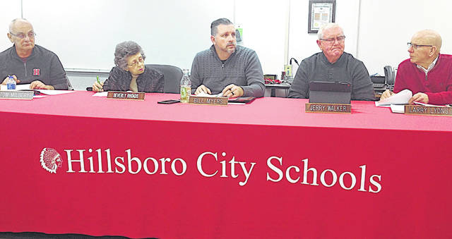 Hillsboro Board of Education members are pictured at Monday's meeting, from left, Tom Milbery, Beverly Rhoads, Bill Myers, Jerry Walker and Larry Lyons.