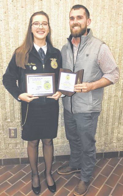 McClain FFA member Emily Jones, left, had the chance to compete at the Ohio FFA Job Interview contest. She placed first in the senior division and then moved on to the finals where she also placed first. Jones will now be moving on to compete at the national job interview contest next fall.