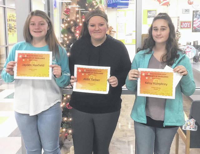 The Lynchburg-Clay Middle School December Students of the Month are sixth grader Jayden Maxfield, seventh grader Abbi Yarber and eighth grader Kelsy Humphrey.