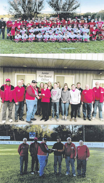Before it disbanded last month after 72-plus years of serving its community, the Hillsboro Lions Club donated the remaining money in its coffers to several local organizations. Some of those organizations are shown with club members in these photographs. In the top photo, the Hillsboro Youth Football program received a $1,000 donation. In the middle photo, the Highland County Junior Fair Board received a $6,000 donation. In the bottom photo, Richard Shaffer Park received a $1,000 donation plus a new scoreboard that is visible in the background. In all, the Hillsboro Lions Club donated $23,000 to local groups.