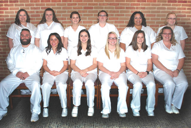 The newest graduates of the Practical Nursing program at Southern State Community College are (front, l-r) Zach Toney-Marcum, Casandra Collins, Bethany Baker, Keysha Taylor, Amanda Howard and Chasity Baldwin; (back row, l-r) Stephanie Puckett, Bryanna Buerkle, Marilyn Sturgill, Alyssa Duncanson, Tiffany Key and Tinisha Wilson.