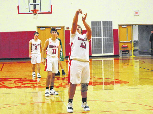 Hillsboro's Reese Bloomfield shoots a free throw Saturday at Hillsboro High School where the Indians battled St. Patrick (Ky.) in the Ohio Valley Hoops Classic. Bloomfield hit a clutch three pointer on Tuesday in the Indian's game against Georgetown at home.