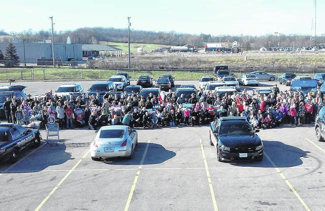 According to Brandon Stratton, chief deputy for the Highland County Sheriff's OPffice, there were 58 different jurisdictions represented at this year's annual Shop With a Cop event, which included officers from the Ohio State Highway Patrol and Ohio Department of Natural Resources. This view, courtesy of a scissors lift at the Hillsboro Walmart, shows a lot of smiling faces of both kids and officers who participated in the program from about 20 feet in the air.
