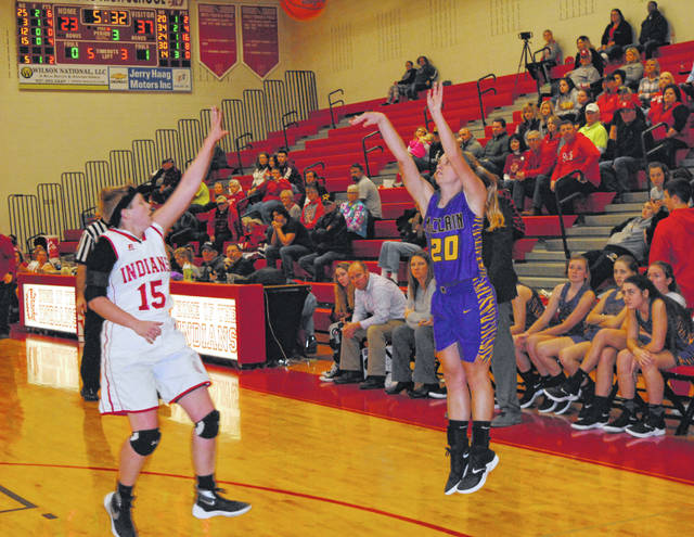McClain's Kelli Uhrig shoots over Hillsboro's Lana Grover on Saturday, Dec. 22, at Hillsboro High School where the Lady Tigers and Lady Indians renewed their on court rivalry.
