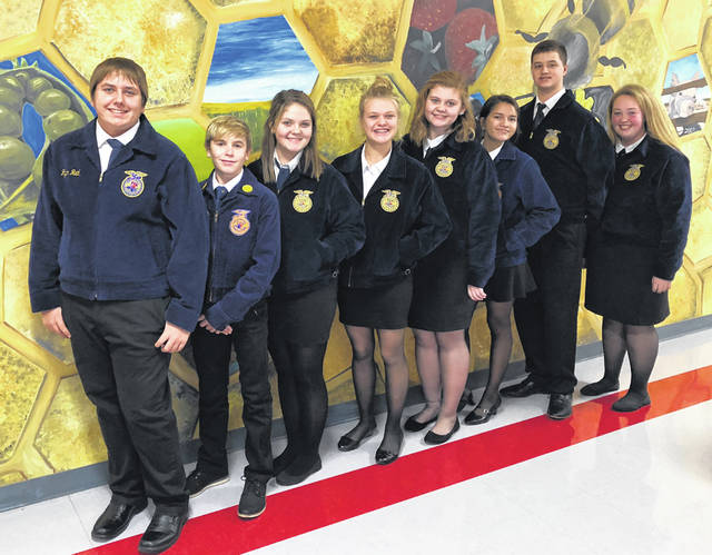 Shown from left to right are Ben Florea, Ethan Parry, Jordan Gillespie, Clara Page, Riley Stratton, Keisha Moore, Griffin Puckett and Emma Hatfield at the subdistrict contest.