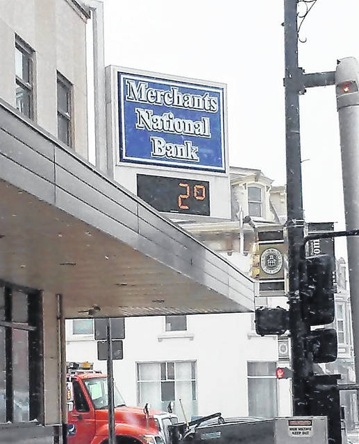 The thermometer at Merchants National Bank in Hillsboro Wednesday morning read just 2 degrees Fahrenheit as an arctic blast put Highland County in the deep freeze.