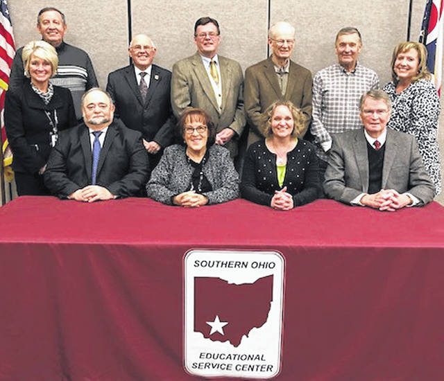 The Southern Ohio Educational Service Center held its reorganizational meeting Jan. 22. Newly elected officers Martha Gausman, president; and Jim Luck, vice president; as well as members Roy Hill, Dennis Mount, Rich Peck, Corky Wilt, Roger West, Chrissy Charters and Rod Lane will lead the organization in 2019. The board members are pictured below (front row, l-r) Beth Justice, superintendent; Roger West, member; Martha Gausman, president; Chrissy Charters, member; and Rod West, member; (back row, l-r) Roy Hill, member; Jim Luck, vice president; Dennis Mount, member; Richard Peck, member; Corky Wilt, member; and Rachel Meyer, treasurer.