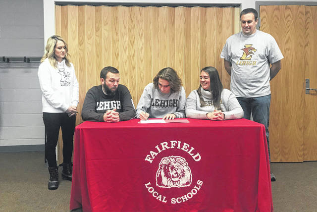 Fairfield senior Brandtson Duffie committed, on Thursday, to run cross country and track at Lehigh University. Brandtson has been a four year standout in both cross country and track. Pictured (l-r): Cristy Duffie (mother), Wilson McCoy, Brandtson, Kesia McCoy and Justin Duffie (father).