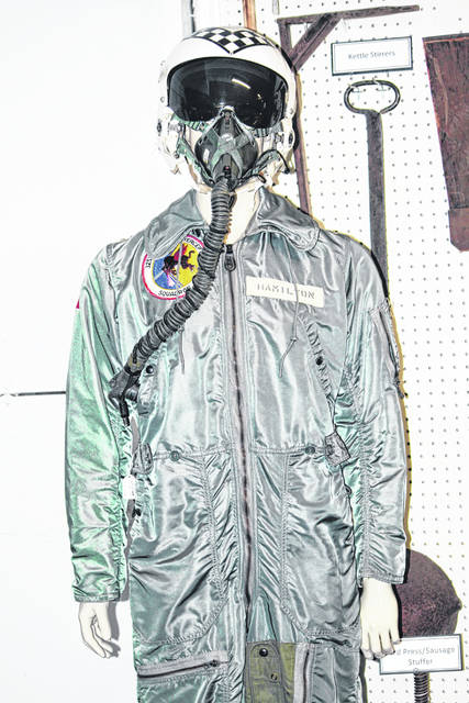 Ths flight suit was worn by Greenfield resident Edward Hamilton while stationed at Truax Field, Madison, Wisc. from 1964-66. Hamilton was assigned to the 325th Fighter Interceptor Squadron (FIS), whose purpose was to intercept and destroy enemy aircraft that might attack the United States from the north. This is just one of the many military uniforms that the Greenfield Historical Society has been entrusted to preserve for future generations.