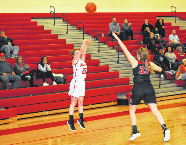 Hillsboro's Jordan Moberly takes a jump shot from just inside the three point arc on Wednesday at Hillsboro High School where the Lady Indians battled the Lady Eagles of Milford in non-conference play.