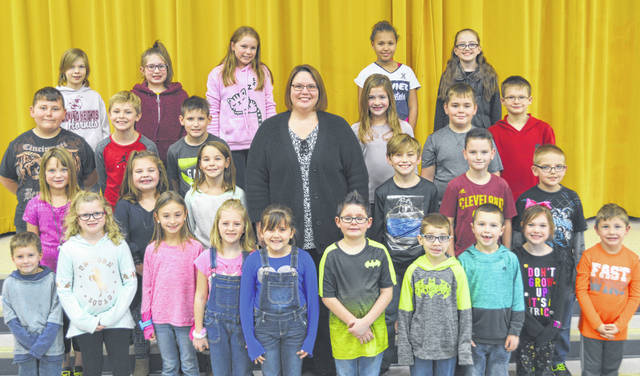 The following children were chosen as recent Lynchburg-Clay Elementary Students of the Month. The students were chosen by their teacher for displaying positive behavior, being responsible and respectful, doing good deeds as well as their school work, and for being a positive role model for others. Pictured are: (front row, l-r) Oliver Hall (PK), Jillian Roberts (1), Kinsey Fulks (2), Kiley Hively (1), Cheyenne Casteel (1), James Smith (1), Kaden Hurley (1), Coy Rom (K), Annabelle Case (K) and Zavier Bettele (K); (second row, l-r) Mahalia Baker (2), Brynleigh Nebbergall (K), Everleigh Barry (2), Principal Mrs. Godby, Brayden Quarles (3), Jackson West (3) and RJ Diskete (3); (third row, l-r) Kamdyn Hooley (2), Jacob DeHaas (2), Bli Kretchek (3), Katelyn Tyree (4), Ashton Fenner (4) and Ryan McClain (4); (fourth row, l-r) Kaela Hatch (5), Aiyanna Skinner (4), Liberty Moore (5), Arianna Huguely (5) and Lillie Schrimper. Notr pictured is Victoria Mohr (PK).