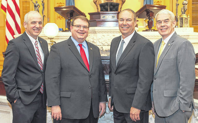 The Ohio Senate Leadership Team is pictured, from left, Majority Whip Matt Huffman, Senate President Larry Obhof, President Pro Tempore Bob Petersonand Majority Floor Leader Randy Gardner.