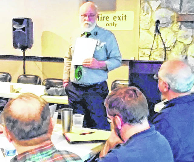 The Rev. Bruce Hines, staff chaplain with Adena Regional Medical Center in Chillicothe, advised and encouraged the Paint Creek Joint EMS/Fire District chaplains at an in-service workshop Wednesday at the Hillsboro Ponderosa Banquet Center.