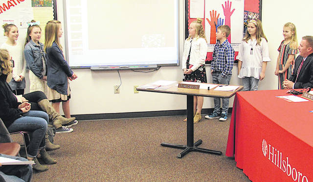 Members of the Hillsboro Fifth Grade Student Council are pictured giving a presentation at Monday's Hillsboro Board of Education meeting.