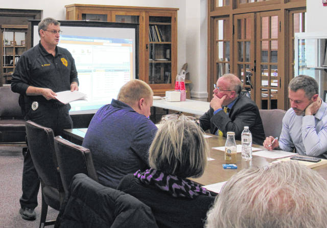 Transportation Supervisor Bradley George delivers his report to the Greenfield Exempted Village Schools Board of Education at Monday's meeting.