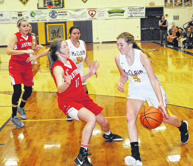 McClain's Brianna Weller drives baseline against East Clinton's Kaitlin Durbin on Wednesday at McClain High School where the Lady Tigers hosted the Lady Astros in a non-conference girls varsity basketball contest.
