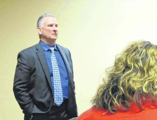 Former Franklin County Municipal Court Judge Scott VanDerKarr is shown speaking to the Highland County Drug Abuse Prevention Coalition on Thursday.