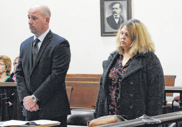 Tamara Pierre, right, is shown in Highland County Common Pleas Court on Wednesday with defense attorney J.D. Wagoner.
