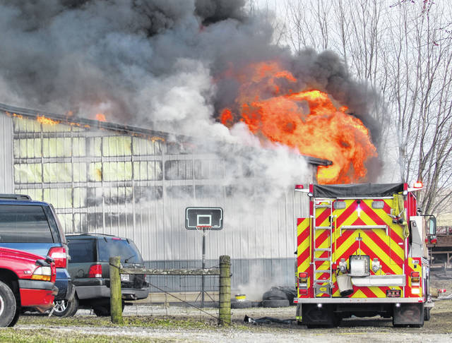 A two-alarm fire Thursday morning in the Leesburg area severely damaged a barn owned by Anthony Hampton and Toni May at 9145 SR 138. Firefighters from the Highland County North Joint Fire and Ambulance District in Leesburg and The Paint Creek Joint EMS/Fire District responded to the blaze.