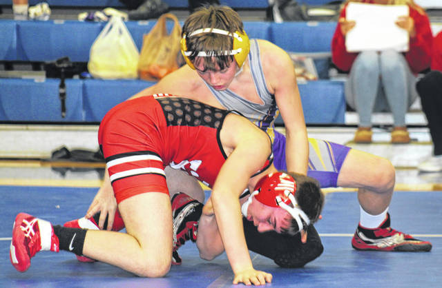 McClain's Ethan Burns competed in the 113 pound weight class in the FAC Individual wrestling championships on Saturday, Feb. 9, at Chillicothe High School.