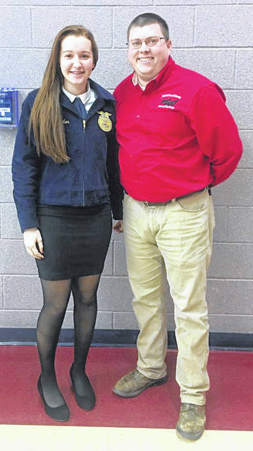 The Fairfield FFA member Kylie Fauber. Kylie placed first out of 15 competitors at the District Creed Speaking Contest and now will move onto the state contest on March 2. Fauber is pictured with Fairfield FFA Advisor Mr. Foster.