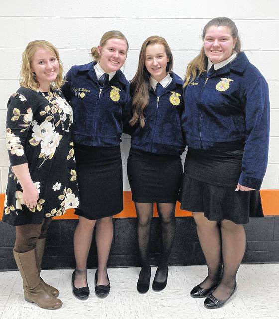 The Fairfield FFA had three members participate in the Public Speaking CDE. These included Paige Teeters, McKenzie Arnold and Kylie Fauber. Fauber placed first in creed speaking with a gold rating and will move on to district completion in Peebles. Arnold placed second in creed speaking with a gold rating. Teeters placed fourth in the extemporaneous speaking contest with a gold rating also. Pictured, from left, are Fairfield FFAAdvisor Miss Sheeley, Paige Teeters, Kylie Fauber and McKenzie Arnold.