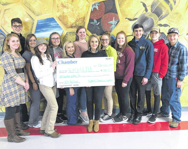The Fairfield FFA would like to thank the Highland County Chamber of Commerce for its donation of $400 to the chapter. The donation is greatly appreciated and will be put to great use for chapter activities. The Fairfield FFA officer team is pictured with Melissa Elmore from the Chamber of Commerce.