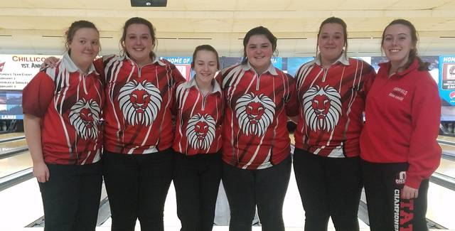 The Fairfield Lady Lions varsity bowling team advanced to the D II Southeast District girls Bowling Tournament with a fourth place finish in the Sectional Tournament. Pictured (l-r): Madison Miller, Gracie Lawson, Sadie Knisely, Morgan Baker, Taylor Lawson, and Sarah Wuellner.