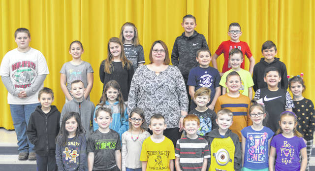 These children were chosen as Lynchburg-Clay Elementary Students of the Month. The students were chosen by their teacher for displaying positive behavior, being responsible and respectful, doing good deeds as well as their school work, and for being a positive role model for others. Pictured are (front row, l-r) Aralyn Slack (K), Caleb Davis (K), Marianna Shaffer (K), Gabriel Nehus (K), Jace Davidson (1), Zander Bell (1), Bailey Patton (1) and Emma Cluff (1); (second row, l-r) Ryan Scheerschmidt (2), Jayden Pettit (2), Mia Perkins (2), Principal Angela Godby, Logan Fields (2), Hayden West (2), Joey Jordan (3), and Brianna Lucas (3); (third row, l-r) Noah Chapman, (4), Mariah May (3), Aubrey Roberts (3), Brandon Penwell (4), Cameron Wilkin (4) and Trevor Neihaus (4); (fourth row, l-r) Joslyn Rockey (5), Brayden Oberrecht (5) and Rhalston Greene (5). Absent from picture were Landon Crabtree (PK), Alexis Blanton (PK), Rose Powih (1) and Hayden Tong (5).