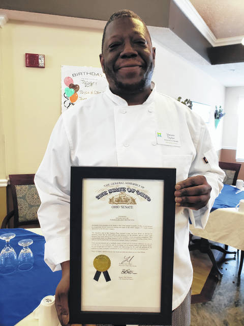 "Steven Taylor, the executive chef at Bell Gardens Place, recently received an award from the Ohio Senate. He was recognized for his excellence in food preparation and for winning the companywide chef recipe contest held by Enlivant Senior Living. Michael Bradford, executive director at Bell Gardens, said: ""I am so proud of Steven. He deserves all this recognition and praise. He is an outstanding chef and prepares amazing meals for our residents at Bell Gardens."" When asked about the award, Taylor replied, ""This is definitely an honor to be recognized for all my hard work and dedication. I am humbled by all the praise I have received and love cooking for my residents at Bell Gardens."""