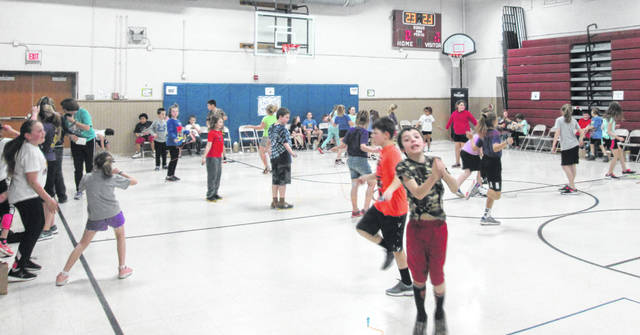 Students are pictured jumping rope at Buckskin Elementary to raise funds for the American Heart Association.