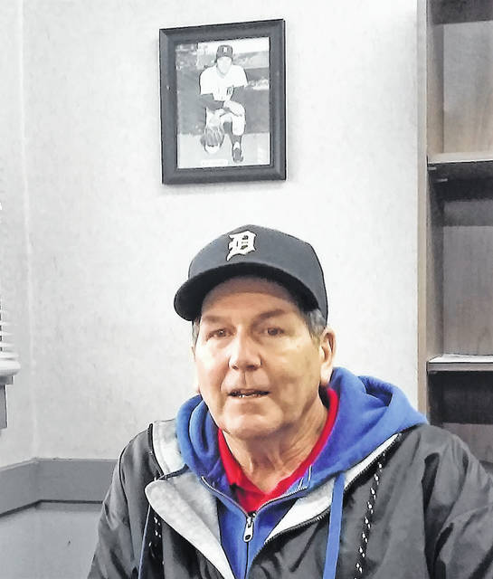 Mowrystown resident and former Major Leaguer Kip Young sat down with The Times-Gazette and sized up the American and National League teams for 2019, and the Cincinnati Reds prospects of being a contender in the upcoming baseball season. Behind him on his office wall is a photo of Young from 1978, wearing No. 37 when he was a starting pitcher for the Detroit Tigers.