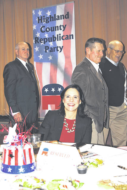 "Ohio Republican Party Chairman Jane Timken was be the guest speaker Wednesday at the annual Highland County Republican Party Lincoln Day Dinner held at the First United Methodist Church in Hillsboro. Timken was elected party chairman in January 2017. She had previously served as vice chairman of the Stark County Republican Party. She graduated cum laude from Harvard College and received her juris doctorate summa cum laude from The American University, Washington College of Law, Washington, D.C. Born in Cincinnati, she resides in Stark County with her husband, W.J. ""Tim"" Timken, president of Timken Steel."