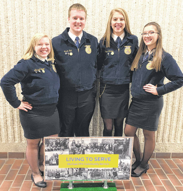 On Feb. 16 the McClain FFA Agricultural Communications team placed sixth in the state. The team was made up of Bryn Karnes, Emily Jones, Abby Dhume and Justin Hall. The team was required to come up with a 10- to 15-minute presentation promoting the McClain FFA Chapter. Karnes was responsible for creating a news release. Jones had to write a feature story. Dhume had to write a letter to the editor and Hall created a web page. Pictured, from left, are Dhume, Hall, Karnes and Jones.