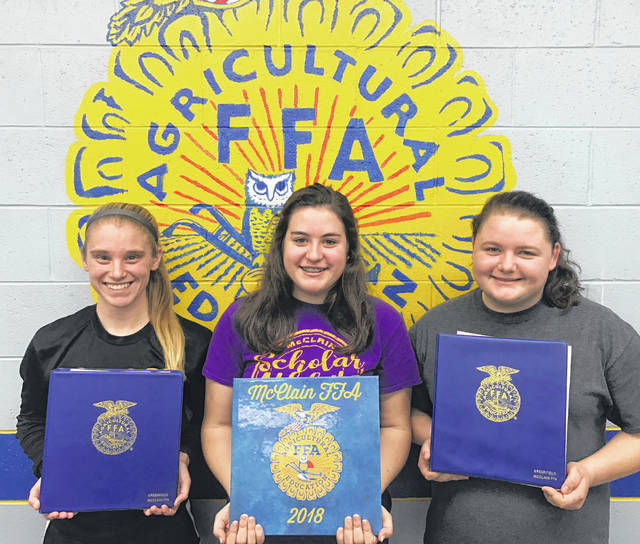 Kelli Uhrig, Destiny Trefz and Natalie Rolfe recently turned in their McClain FFA officer books. Uhrig worked to keep track of all money related business that the chapter was involved in for the past year. Trefz worked countless hours to keep track of all attendance for every event over the past year as well as recording business that was discussed at each meeting. Rolfe took pictures at all of the chapter's events, put them into a scrapbook and kept social media updated with announcements and results. All three girls received perfect scores and will be recognized by the Ohio FFA state officers at the Ohio FFA State Convention. Pictured, from left, are Uhrig, Rolfe and Trefz.