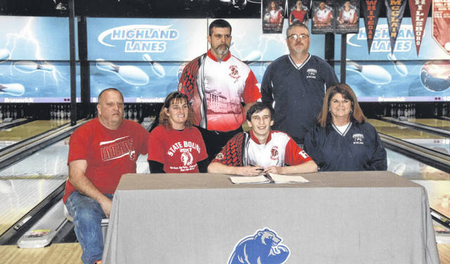 Hillsboro senior Christian McConehea recently signed to bowl with Shawnee State University for the 2019-20 year. Shawnee State is a four year, co-educational, public university in Portsmouth, Ohio. Pictured seated (l-r): Kevin McConehea (father), Bridget McConehea (mother), Christian, Jani Sturgell (Shawnee Asst. Coach). Standing (l-r): Hillsboro head coach Jeff Miller and head coach Bryan Sturgell.