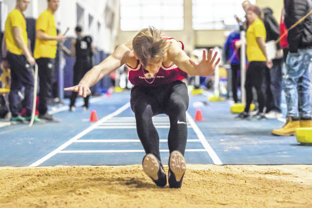 Hillsboro senior Quinn Conlon participates in the triple jump at Cedarville University on Saturday, Feb. 2, where he placed seventh with a distance of 37-0.75.